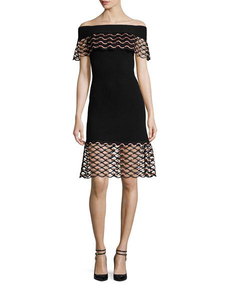 Wave-Lace Off-the-Shoulder Dress