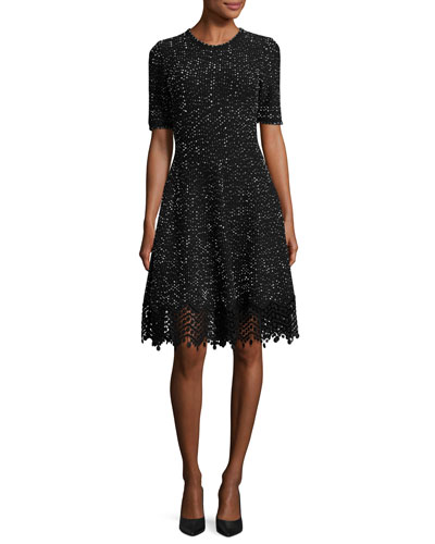 Half-Sleeve Knit Lace-Hem Dress