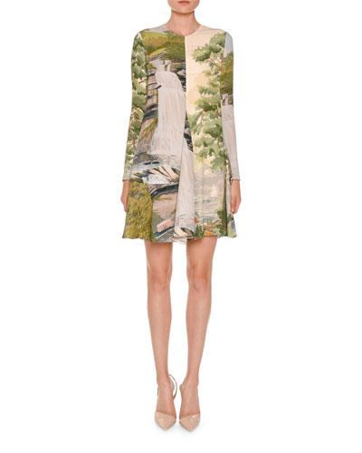 Long-Sleeve Landscape-Print Swing Dress