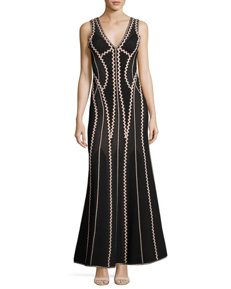 Herve Leger Lineisey Zigzag Pointelle Mermaid Gown, Black/Bare
