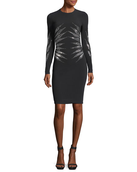 Stella McCartney Studded Cady Long-Sleeve Cocktail Dress