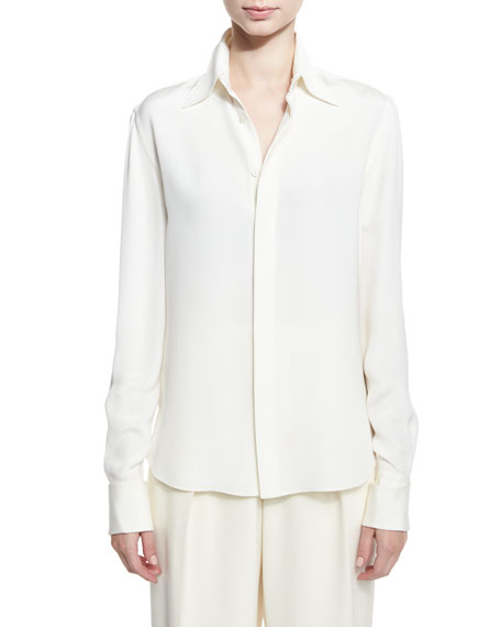 Ralph Lauren Collection Classic Silk Crepe Blouse, Ivory