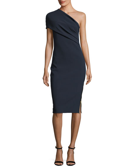 Alexandria Draped One-Shoulder Dress, Navy