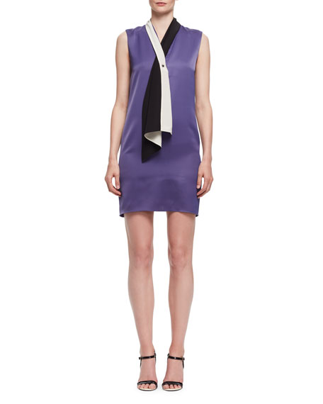 Tie-Neck Sleeveless Shift Dress, Lilac