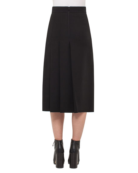 Faux-Wrap Skirt w/Pleated Back, Black