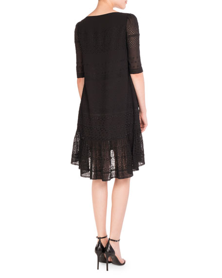 Half-Sleeve Eyelet Flutter Dress, Black