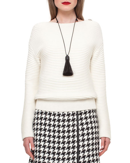 Akris Ribbed Knit Zip-Shoulder Sweater