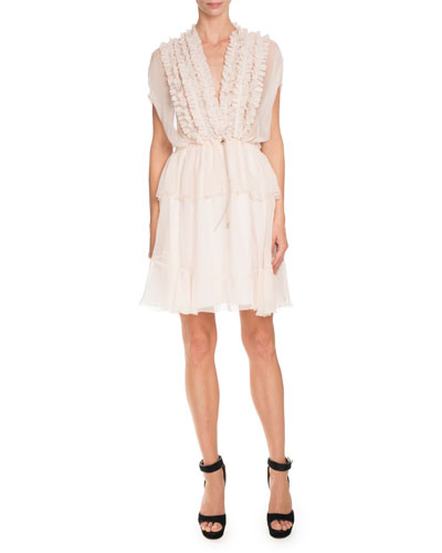 Ruffled Cap-Sleeve Chiffon Dress