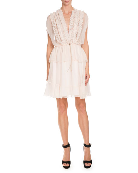 Ruffled Cap-Sleeve Chiffon Dress