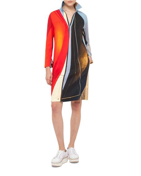 Akris punto Sail-Print Bracelet-Sleeve Tunic Dress, Multi