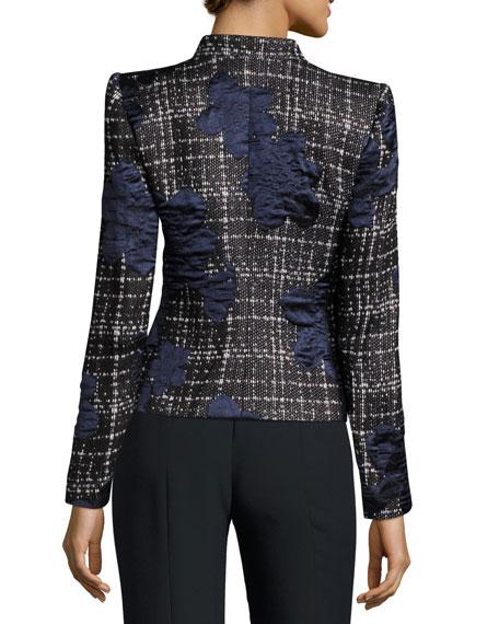 Bow-Neck Satin-Trim Tweed Jacket, Navy
