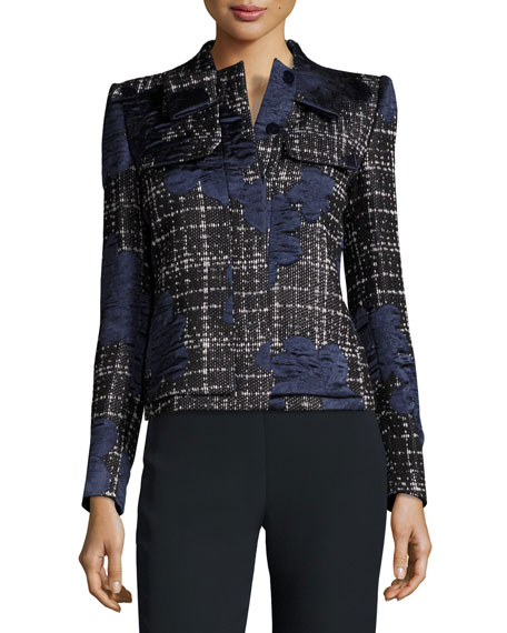 Bow-Neck Satin-Trim Tweed Jacket, Navy