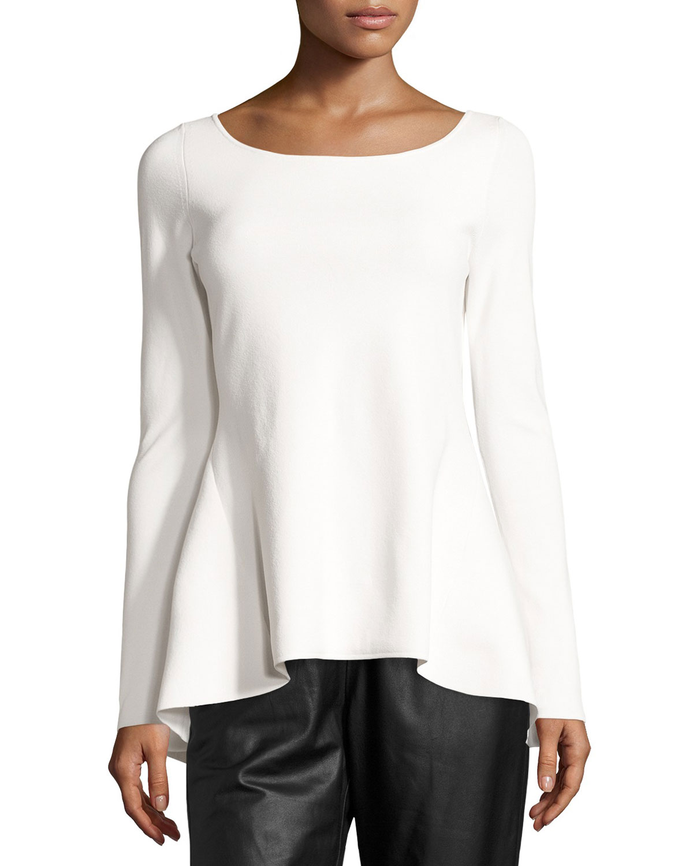 80d3b218ea6019 Escada High-Low Peplum Long-Sleeve Top, Off White | Neiman Marcus