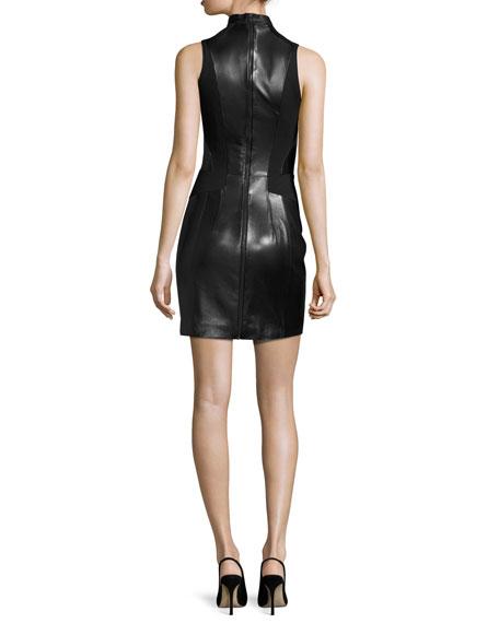 Sleeveless Leather Half-Zip Dress, Black