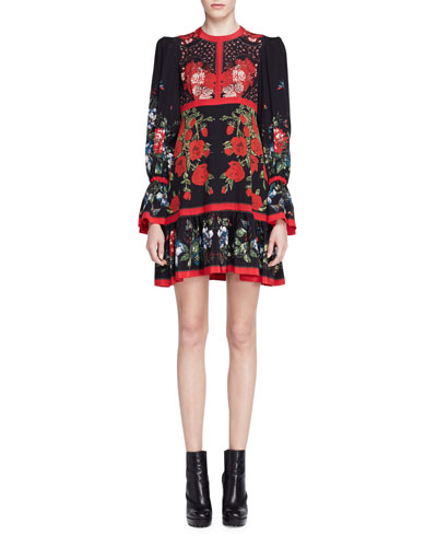 Long-Sleeve Tablecloth-Print Dress, Black