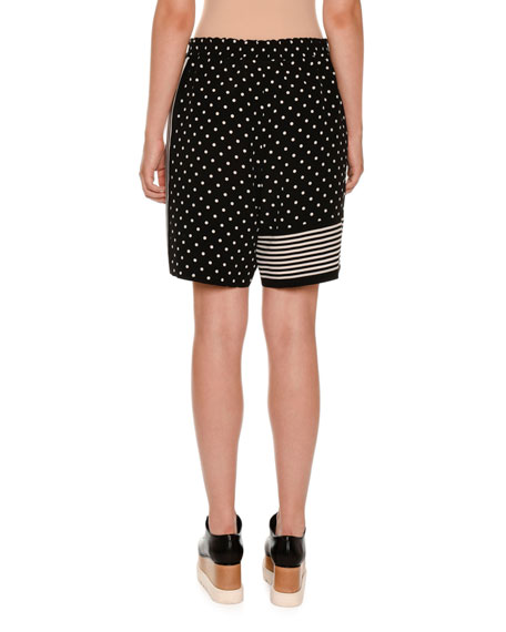 Polka-Dot Striped-Trim Shorts, Black