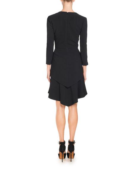 3/4-Sleeve Asymmetric Double-Layer Dress, Black