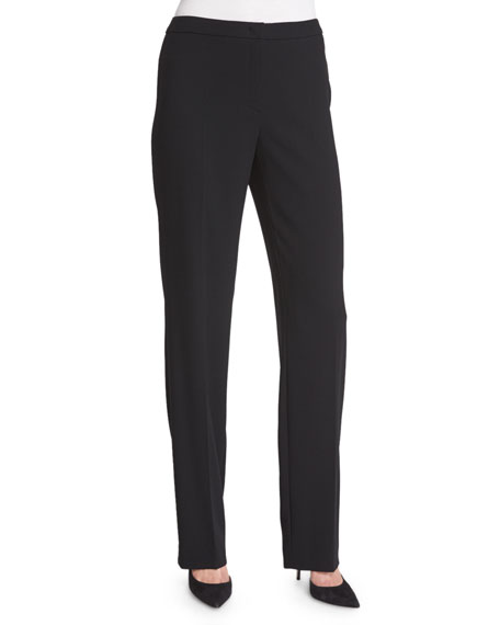 Escada Tovah Straight-Leg Trousers, Black