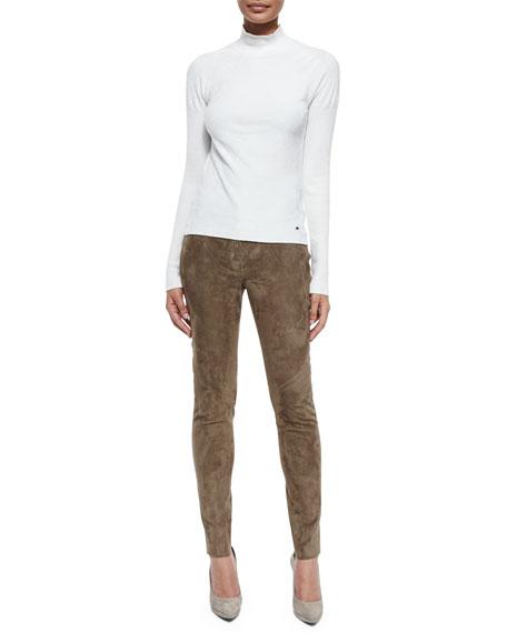 Laker Suede Slim-Leg Pants, Caramel