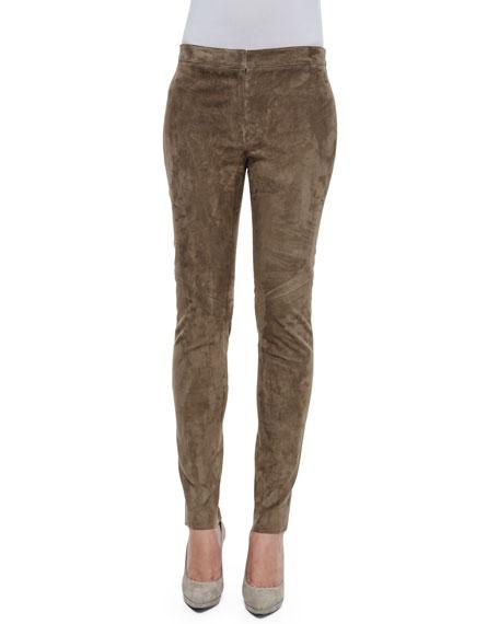 Escada Laker Suede Slim-Leg Pants, Caramel