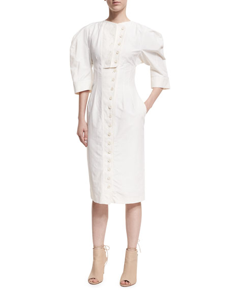 Puff-Sleeve Button-Front Dress