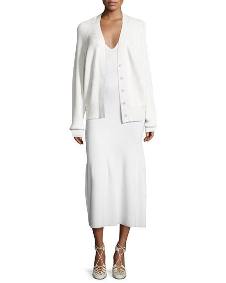 Sleeveless Cashmere Flounce Midi Dress, White