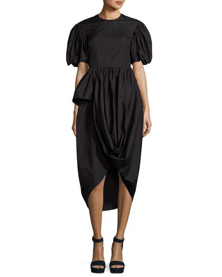 Short-Sleeve Tulip-Skirt Dress, Black