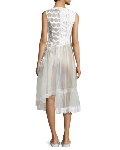 Sleeveless Eyelet Lace & Organza Patchwork Dress