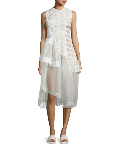 Sleeveless Eyelet Lace & Organza Patchwork Dress, Ivory