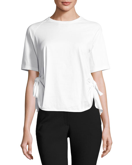 Simone Rocha Knotted-Side Crewneck Tee, White