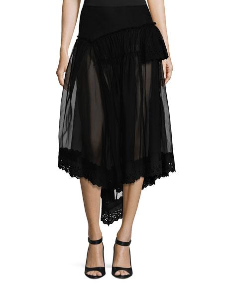 Simone Rocha Silk Tulle Fishtail Skirt w/Eyelet Hem,