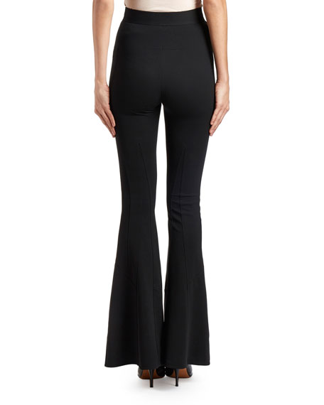 Flared Stretch-Crepe Pants, Black