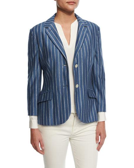 Loro Piana Giacca Shannen Memphis Stripe Jersey Jacket