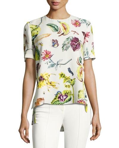 Short-Sleeve Floral-Print Top, Multi
