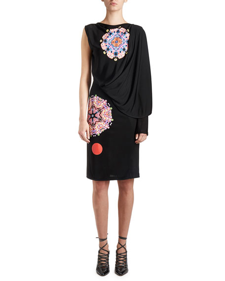 Mandala-Print Draped One-Sleeve Dress, Black/Multi