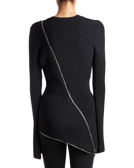 Ribbed Zip-Trim Sweater, Black