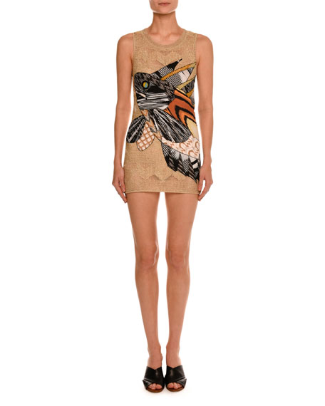 Fish-Appliqué Sleeveless Tunic Dress, Gold