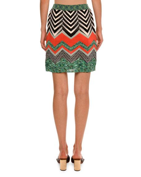 Zigzag Thin Knit Mini Skirt, Red/Multi