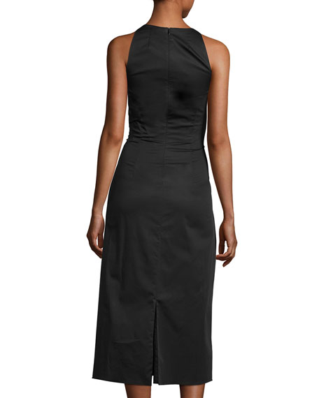 Lao Sateen Tie-Waist Midi Dress