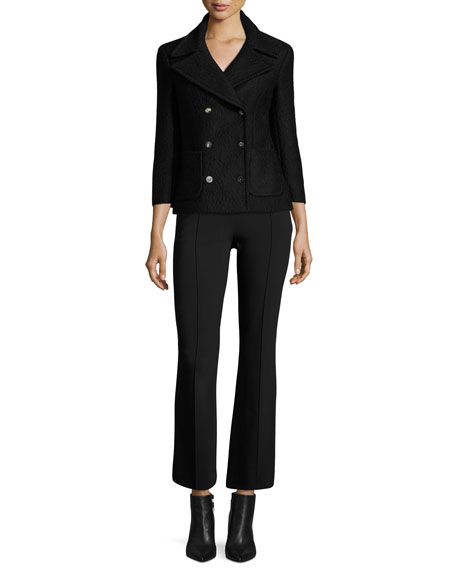 The Row Becca Kick-Flare Cropped Cady Trousers In Black