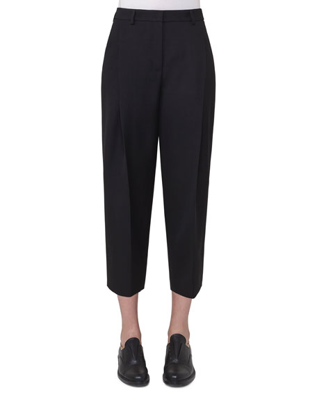 Akris punto Flori Slouchy Cropped Pants, Black