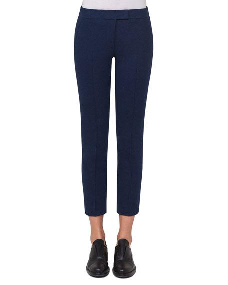 Akris punto Frankie Slim-Leg Jersey Ankle Pants, Navy