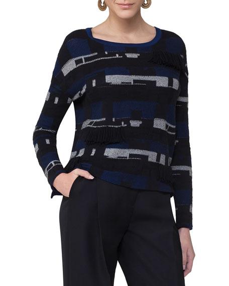 Fringed Jacquard Sweater, Blue Pattern