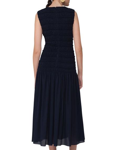 Smocked Sleeveless Midi Dress, Navy
