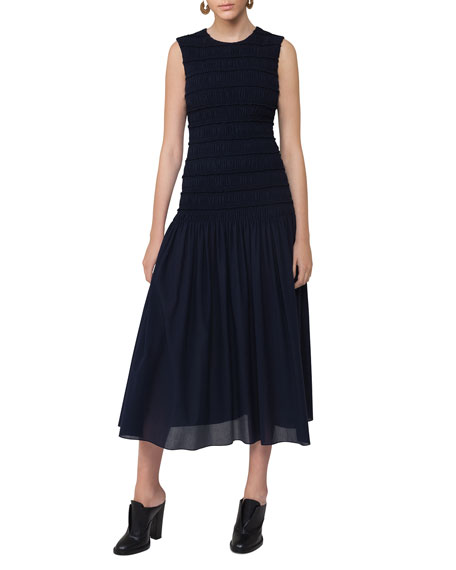 Akris punto Smocked Sleeveless Midi Dress, Navy