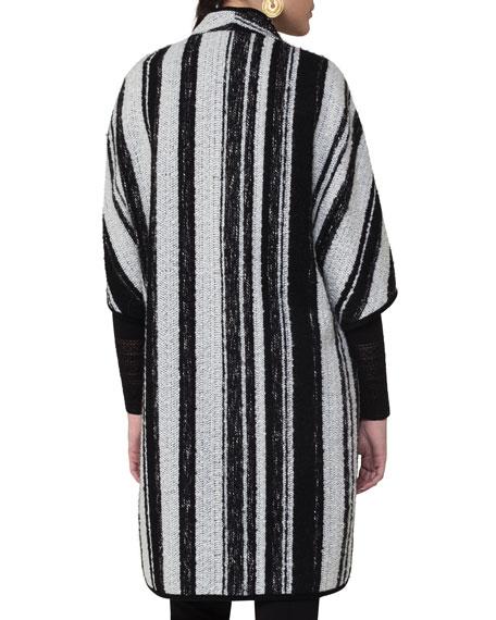 Striped Knit Cape Coat, Multi Pattern