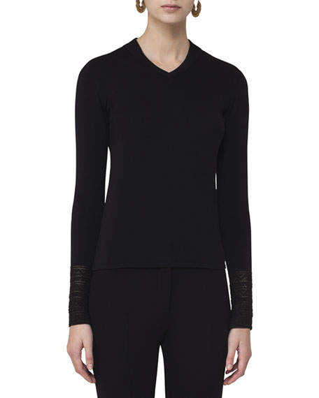 Akris punto Knit Pullover w/Lace Cuffs, Black