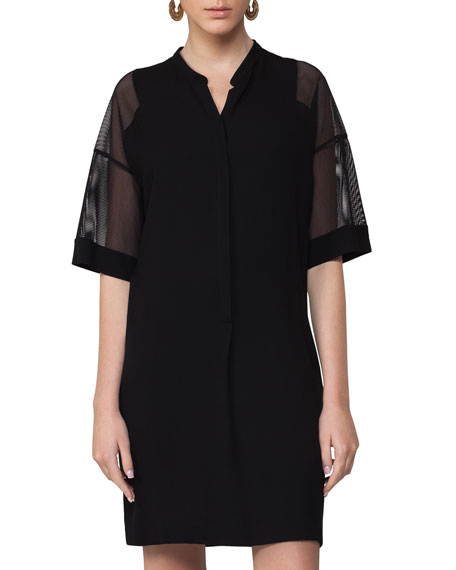 Akris punto Mesh-Sleeve Tunic Dress, Black