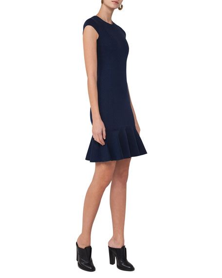Cap-Sleeve Jersey Flounce Dress, Navy