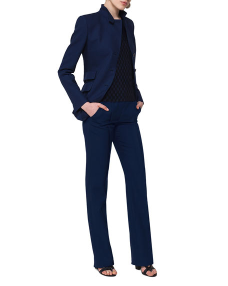 Merit Straight-Leg Wool Pants, Navy